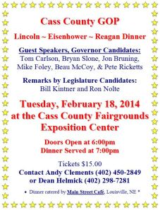The Cass County Lincoln-Eisenhower-Reagan Dinner is being held on Feb 18th.